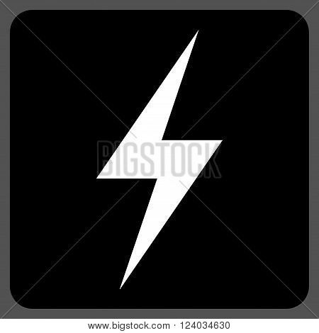 Electricity vector pictogram. Image style is bicolor flat electricity iconic symbol drawn on a rounded square with black and white colors.