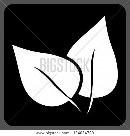 Flora Plant vector icon. Image style is bicolor flat flora plant iconic symbol drawn on a rounded square with black and white colors.