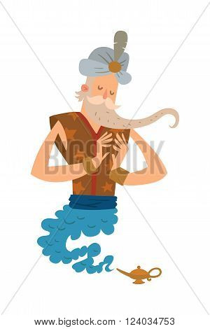 Cartoon djinn old man coming out of a magic lamps. Arabia or India religion genie. Genie vector people isolated on white background. Legend cartoon wizard
