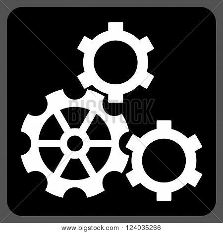 Gears vector pictogram. Image style is bicolor flat gears iconic symbol drawn on a rounded square with black and white colors.