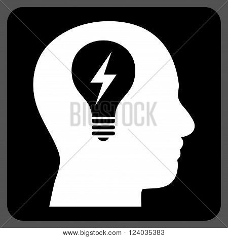 Head Bulb vector icon symbol. Image style is bicolor flat head bulb iconic symbol drawn on a rounded square with black and white colors.