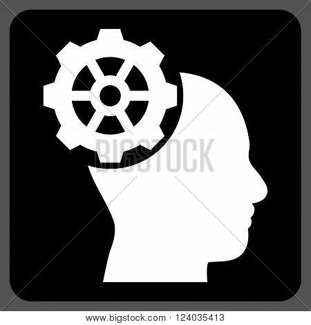 Head Gear vector pictogram. Image style is bicolor flat head gear iconic symbol drawn on a rounded square with black and white colors.