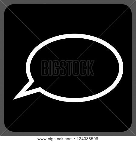Hint Cloud vector symbol. Image style is bicolor flat hint cloud icon symbol drawn on a rounded square with black and white colors.