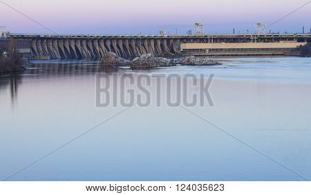 Dam hydroelectric power industry. Horizontal shot, topic - industrial objects.