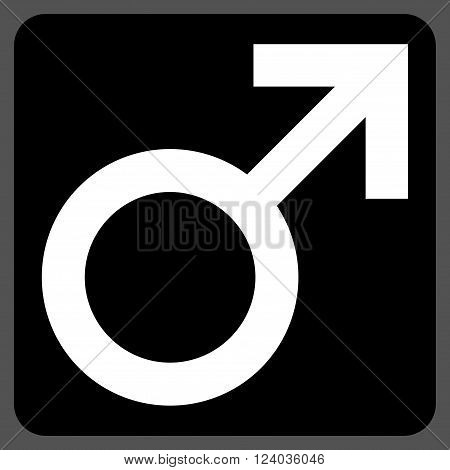 Male Symbol vector pictogram. Image style is bicolor flat male symbol pictogram symbol drawn on a rounded square with black and white colors.