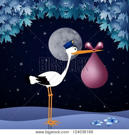 illustration of stork with baby girl in the night