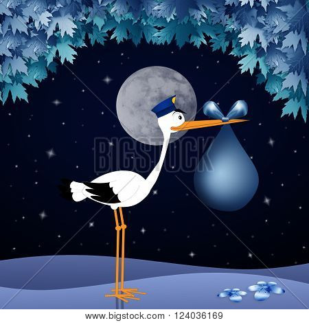 Funny stork with baby in the night