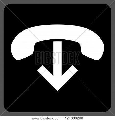 Phone Hang Up vector icon. Image style is bicolor flat phone hang up iconic symbol drawn on a rounded square with black and white colors.