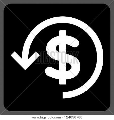 Refund vector pictogram. Image style is bicolor flat refund icon symbol drawn on a rounded square with black and white colors.