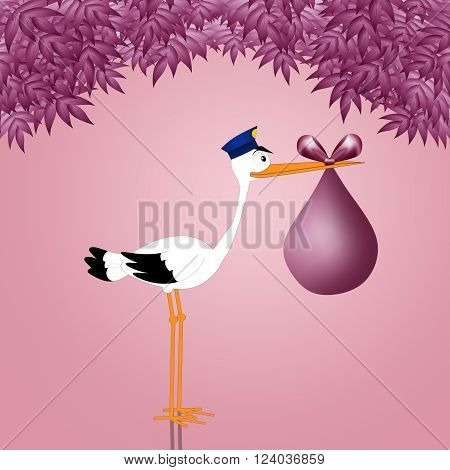 illustration of Funny stork with baby girl