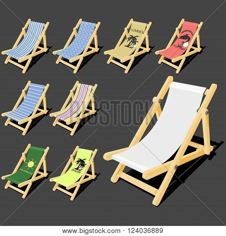isolated deck chair with wood texture for creating your own pattern on it and the free 8 finished  pattern