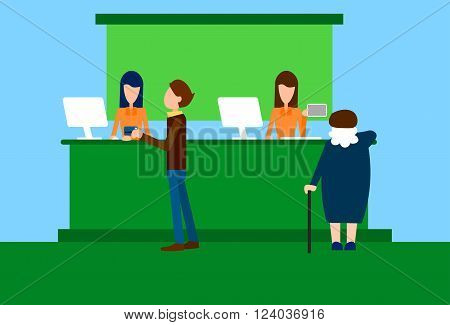 Bank Office Interior Client Senior Woman Banker Worker Workplace Flat Vector Illustration