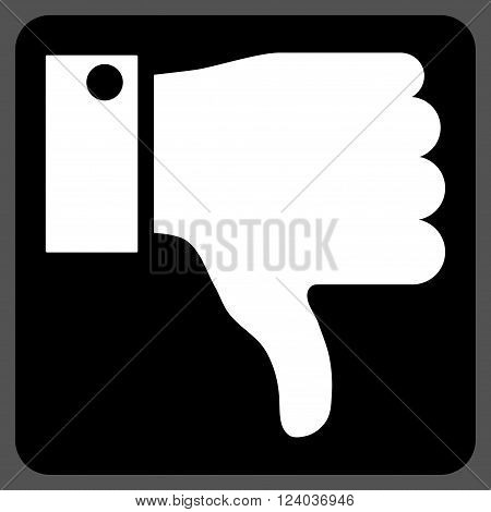 Thumb Down vector icon symbol. Image style is bicolor flat thumb down iconic symbol drawn on a rounded square with black and white colors.