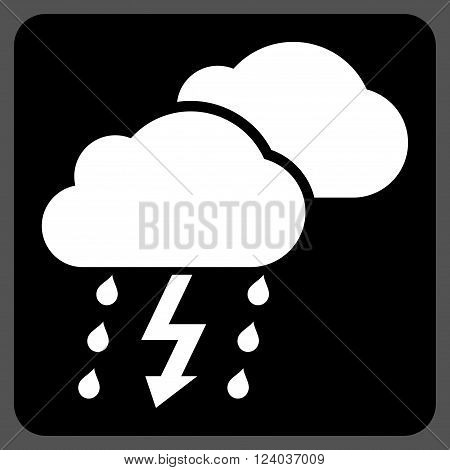 Thunderstorm vector icon symbol. Image style is bicolor flat thunderstorm iconic symbol drawn on a rounded square with black and white colors.