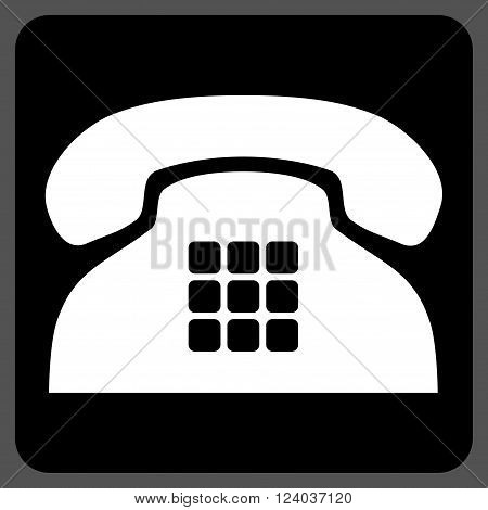 Tone Phone vector icon. Image style is bicolor flat tone phone iconic symbol drawn on a rounded square with black and white colors.