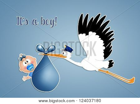 illustration of Funny stork with baby boy