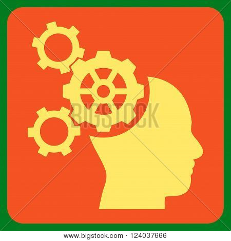 Brain Mechanics vector pictogram. Image style is bicolor flat brain mechanics icon symbol drawn on a rounded square with orange and yellow colors.
