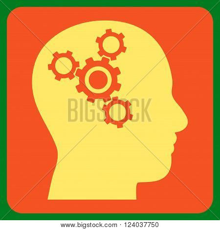 Brain Mechanics vector icon. Image style is bicolor flat brain mechanics icon symbol drawn on a rounded square with orange and yellow colors.
