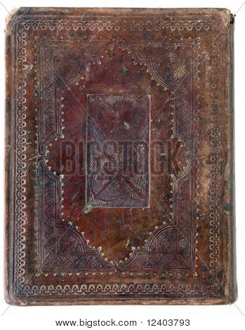 closed XIX century  vintage bible on white background