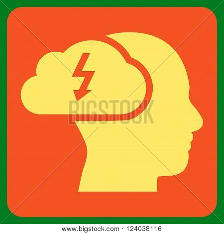 Brainstorming vector pictogram. Image style is bicolor flat brainstorming pictogram symbol drawn on a rounded square with orange and yellow colors.