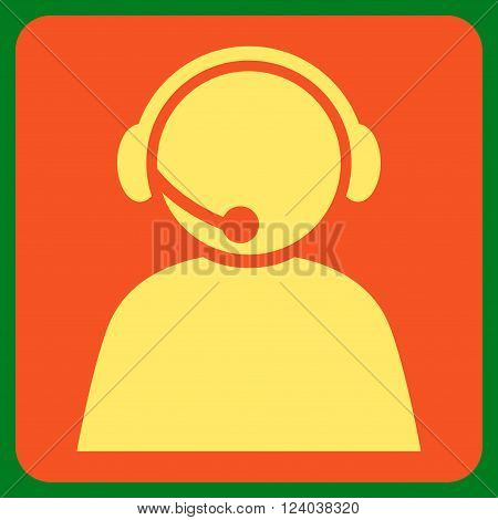 Call Center Operator vector pictogram. Image style is bicolor flat call center operator icon symbol drawn on a rounded square with orange and yellow colors.