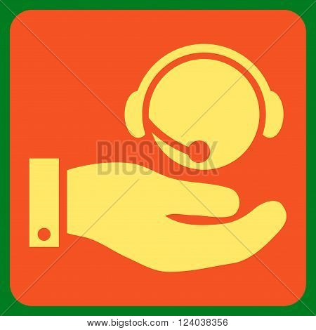 Call Center Service vector pictogram. Image style is bicolor flat call center service pictogram symbol drawn on a rounded square with orange and yellow colors.