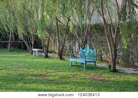 Blue garden chair in garden with many green tree and pathway / Blue chair in graden