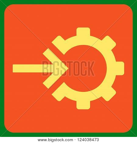 Cog Integration vector symbol. Image style is bicolor flat cog integration pictogram symbol drawn on a rounded square with orange and yellow colors.