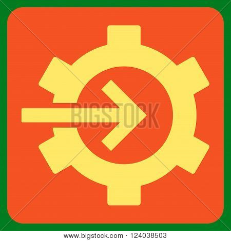 Cog Integration vector icon. Image style is bicolor flat cog integration iconic symbol drawn on a rounded square with orange and yellow colors.