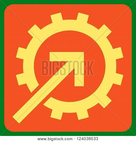 Cog Integration vector pictogram. Image style is bicolor flat cog integration iconic symbol drawn on a rounded square with orange and yellow colors.