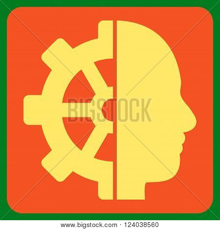 Cyborg Gear vector pictogram. Image style is bicolor flat cyborg gear icon symbol drawn on a rounded square with orange and yellow colors.
