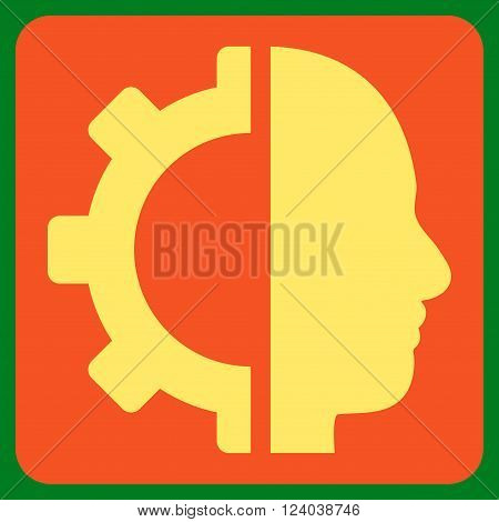 Cyborg Gear vector icon. Image style is bicolor flat cyborg gear icon symbol drawn on a rounded square with orange and yellow colors.