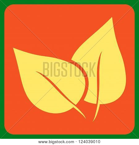 Flora Plant vector pictogram. Image style is bicolor flat flora plant pictogram symbol drawn on a rounded square with orange and yellow colors.