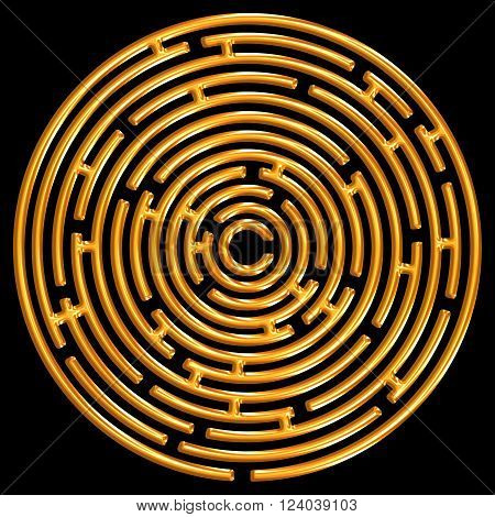 A golden maze isolated on a black background