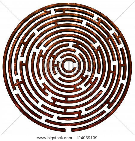 A copper colored maze isolated on a white background