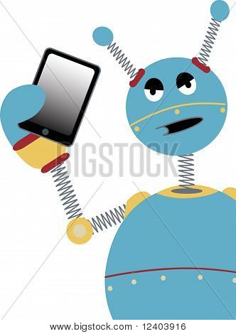 Angry Robot Holding Tablet