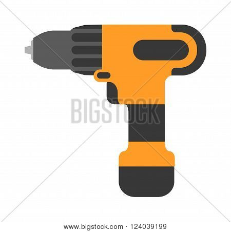 Screwdriver flat vector. Cordless drill electro tools. Electric screwdriver icon. Some cordless drill isolated on white background. Cordless drill repair technology