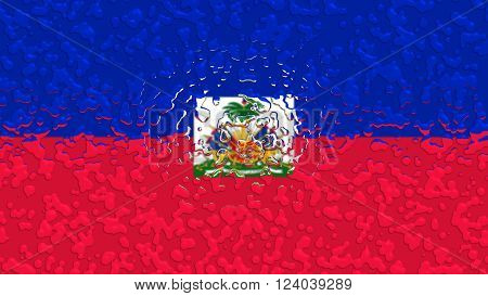 Flag of Haiti, Haitian flag painted with water drops