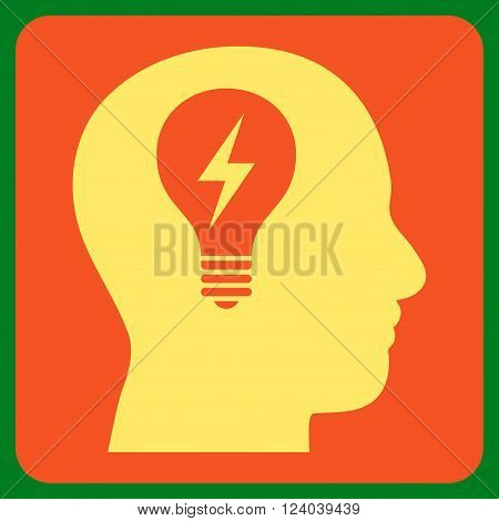Head Bulb vector symbol. Image style is bicolor flat head bulb iconic symbol drawn on a rounded square with orange and yellow colors.