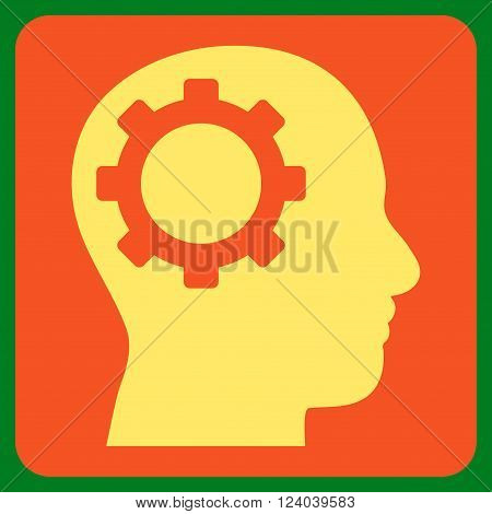 Intellect Gear vector icon. Image style is bicolor flat intellect gear icon symbol drawn on a rounded square with orange and yellow colors.