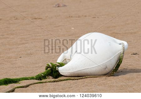 White buoy lying in the yellow sand of a beach