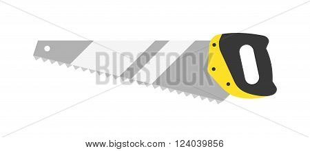 Hand saw flat vector isolated on white background. Saw wood processing tool. Flat hand saw tools hand equipment. Some saw tools industry. Simple hand saw tool design.