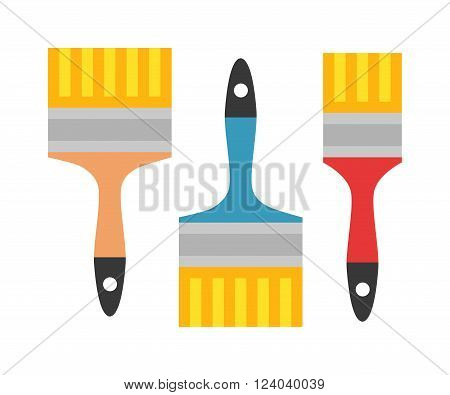 Paint brushes vector isolated on a white background. Brushes work tool. Consteuction brushes color art design. Paint brushes painter design