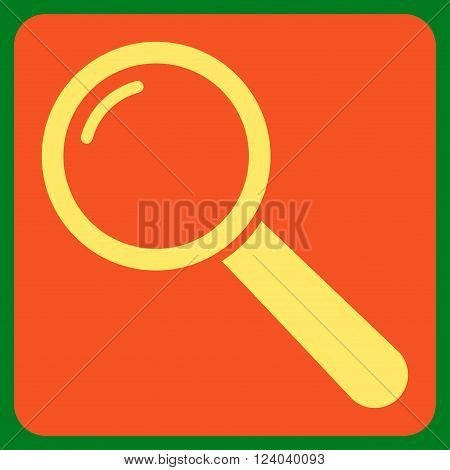 Magnifier vector icon symbol. Image style is bicolor flat magnifier iconic symbol drawn on a rounded square with orange and yellow colors.
