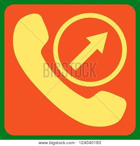 Outgoing Call vector symbol. Image style is bicolor flat outgoing call iconic symbol drawn on a rounded square with orange and yellow colors.