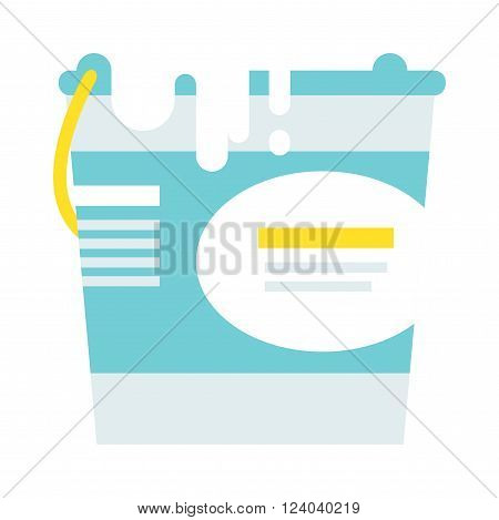Paint bucket vector icon. Flat paint bucket cartoon vector illustration. Paint bucket with whhite color ink. Art work paint bucket container.