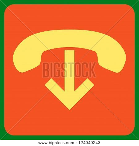 Phone Hang Up vector pictogram. Image style is bicolor flat phone hang up icon symbol drawn on a rounded square with orange and yellow colors.