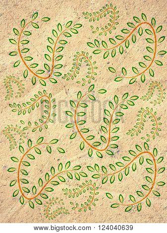 art stripes creeper leaf on grunge brown illustration background