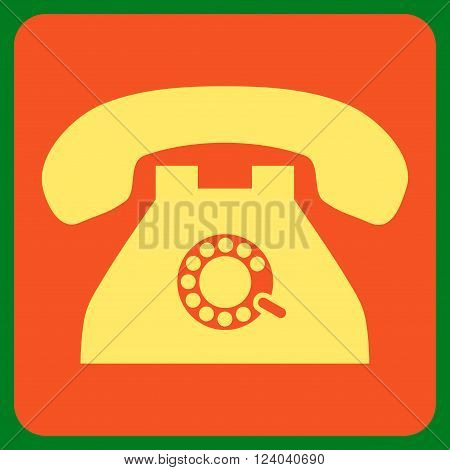 Pulse Phone vector icon. Image style is bicolor flat pulse phone iconic symbol drawn on a rounded square with orange and yellow colors.