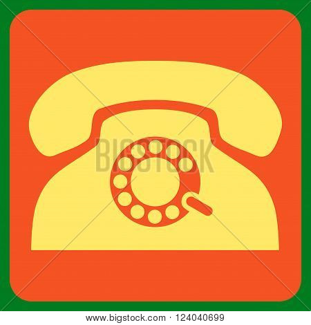 Pulse Phone vector icon symbol. Image style is bicolor flat pulse phone pictogram symbol drawn on a rounded square with orange and yellow colors.